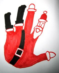 Santa handprint~Santa falling down the chimney drawing! ~I saw this and thought it would be a great classroom project...except for the fact that I don't have a classroom or a little one to craft with... maybe someone I know can use it next year!! - Click image to find more Education Pinterest pins