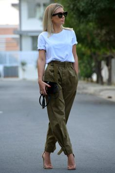 Pants/Isabel Marant Tee/Acne Heels/Stuart Weitzman Bag/Saint Laurent Sunnies/Céline Nice Outfits, Spring Outfits, Street Fashion, Women's Fashion, Beach Look, Military Green, Isabel Marant, Stuart Weitzman, Street Styles