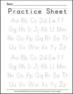 Print ABCs Dashed Handwriting Practice Worksheet