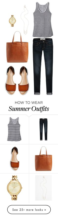 """Summer outfit - Merona Slide Sandals"" by connie-nicole on Polyvore featuring Abercrombie & Fitch, Mossimo, Madewell, MICHAEL Michael Kors and BP."