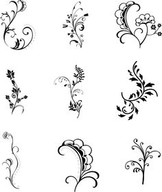 New Collection of Free Floral Photoshop Brushes Free Photoshop, Photoshop Brushes, Heather Flower, Finger Henna, Floral Doodle, Doodle Art Designs, Glass Engraving, Zentangle Patterns, Zentangles
