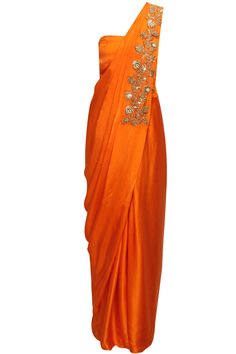 Tangerine embroidered draped sari gown by Chhavvi Aggarwal. Shop now: http://www.perniaspopupshop.com/designers/chhavvi-aggarwal #gown #chhavviaggarwal #shopnow #perniaspopupshop