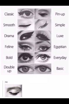 Just a few sexy ways to wear eye liner. Tip: invest in a gel eyeliner as they are smoother and go on nicer. Also try putting sticky tape on the corners of your eyes to act as a guide to drawing your winged liner ;)