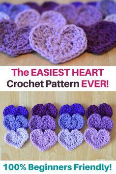 Free Heart Crochet Pattern, Crochet Flower Patterns, Crochet Patterns Amigurumi, Crochet Designs, Easy Crochet Flower, Easy Things To Crochet, Free Crochet Patterns For Beginners, Crochet Applique Patterns Free, Crochet Hearts