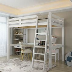 High Sleeper Cabin Bed with Ladder Solid Wooden Loft Bunk Bed White Kids Adult Loft Beds For Small Rooms, Double Loft Beds, Loft Beds For Teens, Adult Loft Bed, Bunk Beds For Girls Room, Adult Bunk Beds, Loft Bunk Beds, Bunk Bed With Desk, Bunk Beds With Stairs