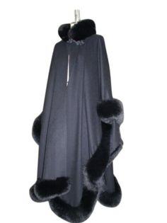 Long Loro Piana 17 Ounce 100% Cashmere Sleeve Cape w/Fox Border  Collar