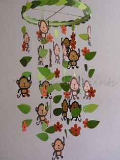Items similar to Monkey Jungle Baby Mobile with Leaves and Flowers - Choose Your Colors on Etsy Jungle Theme Crafts, Zoo Crafts, Mobiles For Kids, Deco Jungle, Lion King Baby Shower, Paper Mobile, Jungle Nursery, Summer Crafts For Kids, Animal Habitats