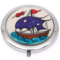 Çanta Aynası (Kalyon Desenli) Ceramic Jewelry, Emo, Tile, Ceramics, Tiles, Ceramica, Mosaics, Emo Style, Ceramic Art