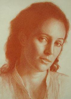 J Series (detail - detalle) Sanguinea sobre papel Sanguine on paper Realistic Pencil Drawings, Chalk Drawings, Cool Art Drawings, Pencil Portrait, Portrait Art, Pastel Portraits, Monochrom, Figurative Art, Female Art