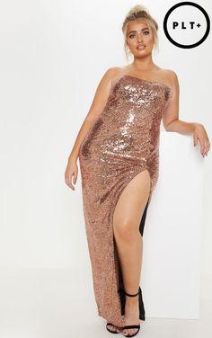 0973ca65deb Plus Bronze Bandeau Sequin Split Front Maxi Dress. Rose Gold ...
