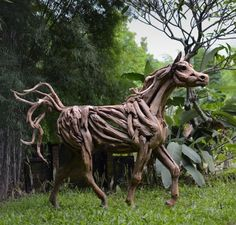 Horse Statues - Prancing Stallion - Handcrafted from Natural Salvaged Driftwood & Roots - Woodland Creek's Artisans Can Create You a One-of-a-Kind Piece - Perfect for Outdoor Display!