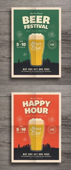 Happy Hour Beer Festival Flyer Template AI, PSD                                                                                                                                                                                 More