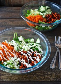 Buffalo Chickpea Salad with Light Bleu Cheese Dressing   Chocolate and Chickpeas.