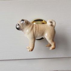 Porcelain Pug Drawer Pull