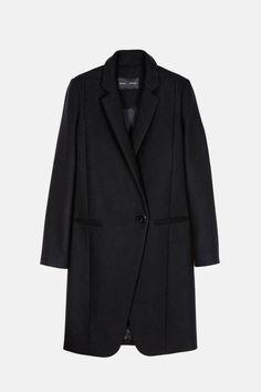 Proenza Schouler — Wool Cashmere Long Coat W/Asymmetrical Placket Black — THE LINE