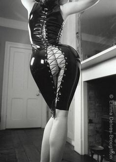Open back latex dress