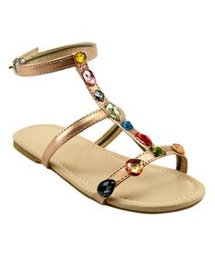 Look what I found on #zulily! Gold Rhinestone Sandal by The Doll Maker #zulilyfinds