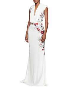W08CJ Alexander McQueen Floral-Embroidered Pleated V-Neck Gown, White/Multi