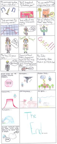 Mr.Impossible Does the Impossible by Maggie L, Grade 5:  Mr. Impossible is stopping natural disasters that can destroy cities and ruin life. The number of natural disasters is going up and the world needs more Red volunteers so Mr. Impossible is stopping all the natural disasters that come.