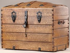 Antique-Trunk-Style-Camel-Back-Trunk Wooden Trunks, Old Trunks, Vintage Trunks, Trunks And Chests, Wooden Chest, Antique Trunks, Vintage Suitcases, Vintage Luggage, Objets Antiques