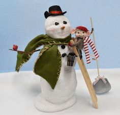 Needle Felted Mouse Making a Snowman Christmas Decoration! ...........Free U.S. Shipping too! by JustFeltRite on Etsy
