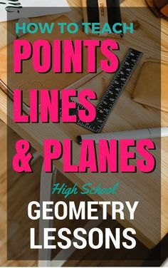 Points Lines and Planes - Geometry Lesson on How to Teach Points Lines and Planes. Bell Ringer Homework Assignment Exit Quiz PowerPoint Presentation Lesson Plan Guided Notes Geometry Lessons, Teaching Geometry, Geometry Activities, Geometry Worksheets, Teaching Math, Teaching Ideas, Math Worksheets, Plane Geometry, Basic Geometry