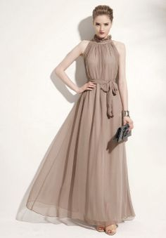 Dress. Fashion Style Stand Collar Ruffled Flounce Edge Self-Tie Sleeveless Chiffon Dress For Women (KHAKI,ONE SIZE).  So cheap at www.sammydress.com/product724486.html?SSAID=714532  $11.82
