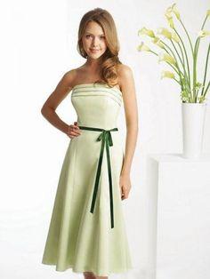 2012 Spring Style A-line Strapless Belt Sleeveless Tea-length Elastic Woven Satin Sage Cocktail Dress / Homecoming Dress