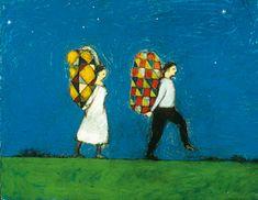 Brian Kershisnik- Brightly colored burdens
