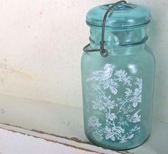 Love this one!  Shabby Chic Glass Vase, Blue Mason Jar, Beach Cottage Home Decor, Modern Farmhouse, Recycled Glass Bottle,. $38.00, via Etsy.