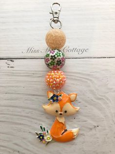 Excited to share this item from my shop: Little Orange Fox Chunky Beads Zipper Bag Charm/Backpack/Purse/Diaper bag/keychain/bag bling/baby/fox Diaper Bag Purse, Backpack Purse, Crafts To Sell, Diy Crafts, Flower Tutorial, Bow Tutorial, Chunky Beads, Organza Gift Bags, Zipper Bags