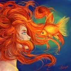 Burnt Gold by CharmaineCheese on DeviantArt Fantasy Mermaids, Mermaids And Mermen, Mermaid Artwork, Mermaid Paintings, Redhead Art, Mermaid Wallpapers, Vintage Mermaid, Mermaid Mermaid, Beautiful Fantasy Art