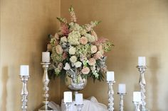 Blush wedding flowers in an aged mercury urn with silver mercury candlesticks, Dallas wedding flowers by AntebellumDesign.com