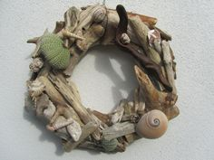 Driftwood wreath by DriftwoodDecorByBeth on Etsy Driftwood Wreath, Fruit Trees, Table Centerpieces, A Table, Sea Shells, Wreaths, Outdoor Decor, Holiday, Etsy