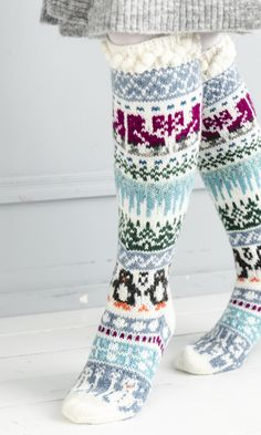 Merja Ojanperän We love winter embroidery socks Diy Crochet And Knitting, Crochet Leg Warmers, Knitting Charts, Knitting Socks, Baby Knitting, Knitting Patterns, Christmas Stocking Pattern, Knitted Christmas Stockings, Christmas Knitting