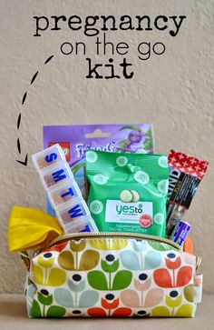Pack a small on-the-go pregnancy kit filled with essentials like prenatal vitamins and snacks.