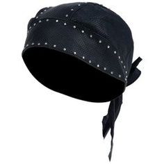 Diamond Plate™ Solid Genuine Leather Perforated Skull Cap with Chrome Studs $19.95