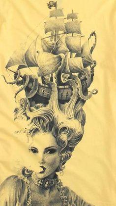 Modern Marie Antoinette with Kraken hair Josie Loves, Et Tattoo, Tattoo Pics, Siren Tattoo, Tattoo Art, Drawn Art, Marie Antoinette, Skin Art, Up Girl