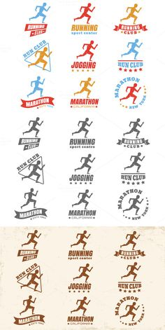 Logos for running club by Serazetdinov on Creative Market