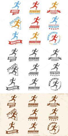 Logos for running club by Serazetdinov on Creative Market