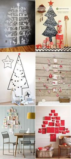 alternative christmas trees use christmas cards and put on the wall in tree pattern