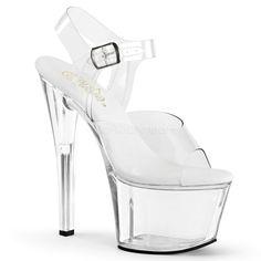 Pleaser Shoes SKY-308VL Vegan Leather Insole High Heels Clear Platform Sandals
