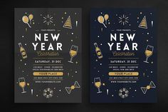 New Year Party Celebration Flyer by Guuver on @creativemarket