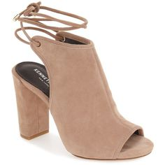 Kenneth Cole New York Darla Block Heel Sandal ($100) ❤ liked on Polyvore featuring shoes, sandals, cafe, wrap sandals, open toe sandals, block heel ankle strap sandals, wrap around ankle sandals and block heel sandals