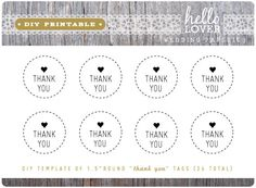 "INSTANT DOWNLOAD DIY Printable - Thank You Tags 1.5""  Round Modern Vintage Wedding Favor Tags"