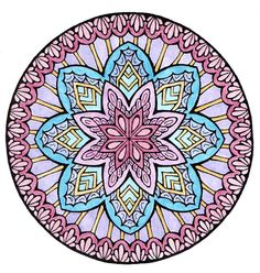 From Dover's Mystical Mandala Coloring Book by Alberta Hutchinson. Colored by Lenore1216 with Crayola colored pencils.