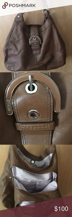 Coach hobo bag brown Authentic Coach hobo bag with three full pockets and magnetic snap. Barely used but does have slight wear on it from moving. Inside is immaculate no rips. Has matching wallet which is sold separately. Coach Bags Hobos