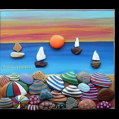 This Artist Creates Unique Art Using Ordinary Pebbles And Rocks Sea Glass Crafts, Seashell Crafts, Stone Crafts, Rock Crafts, Easter Crafts For Adults, Acrylic Painting Lessons, Rock Painting Designs, Stone Sculpture, Stone Painting