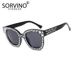 bf2e8698fa3 Women Retro Cat Eye Sunglasses Brand Designer GLITTER Star Sunglass 90s  Bling Cateye Sun Glasses Blue