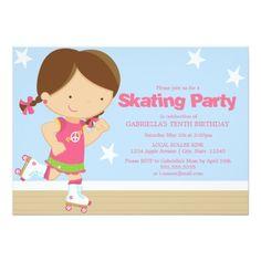 Roller Skate Birthday Invitations Skating Party | Brunette girl Card